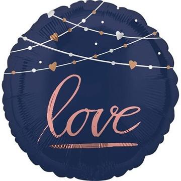 Obrázek Foliový balonek modré - růžový nápis - Love 45 cm