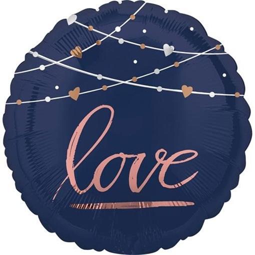 Obrázek z Foliový balonek modré - růžový nápis - Love 45 cm