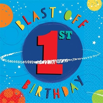 Obrázek Papírové ubrousky Vesmír - 1st birthday 16 ks