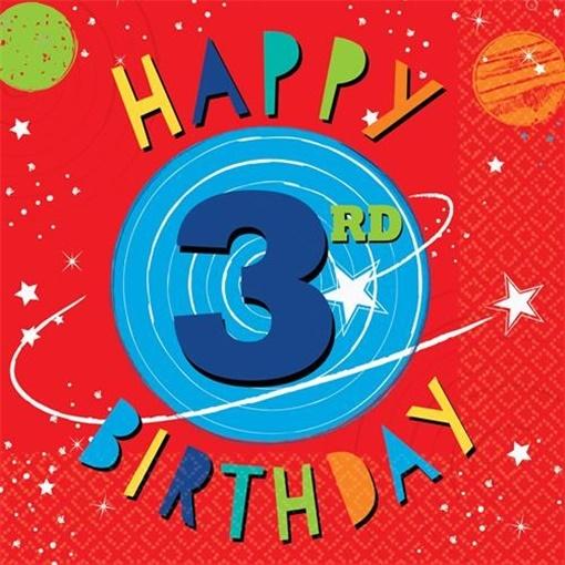 Obrázek z Papírové ubrousky Vesmír - 3rd birthday 16 ks