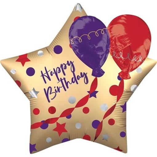 Obrázek z Foliový balonek saténová hvězda s balonky Happy Birthday 71 cm