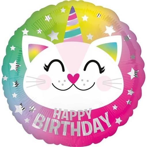 Obrázek z Foliový balonek kočička Happy Birthday 43 cm