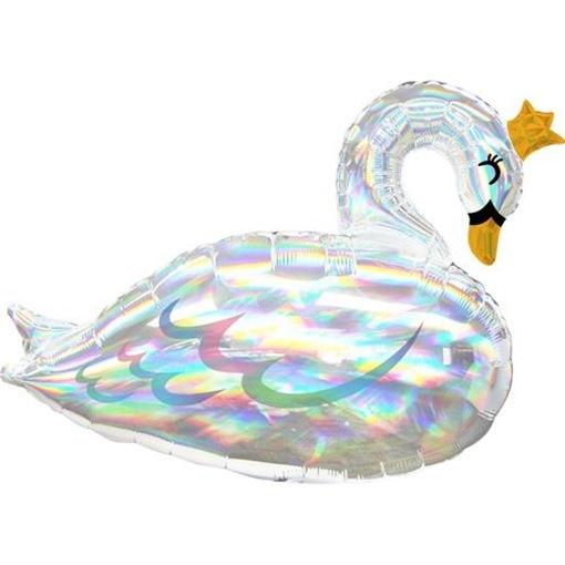 Obrázek z Foliový balonek lesklý - duhová labuť 73 cm