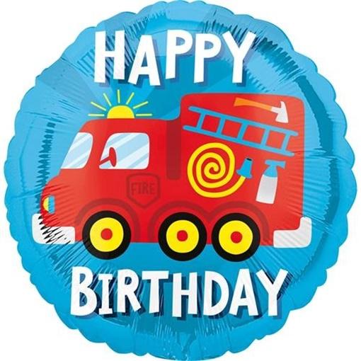 Obrázek z Foliový balonek Hasiči Happy Birthday 43 cm