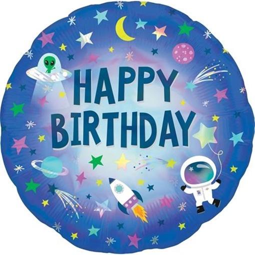 Obrázek z Foliový balonek holografický Space Happy Birthday 43 cm