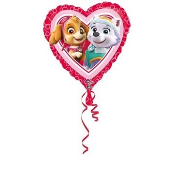 Obrázek Foliový balonek srdce Tlapková patrola 43 cm