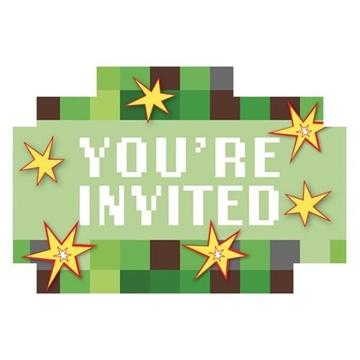 Obrázek Party pozvánky Minecraft TNT 8 ks
