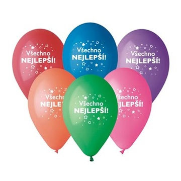 Obrázek Latexový balonek hvězdy - Všechno nejlepší 30 cm