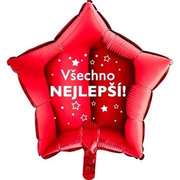 Obrázek Foliový balonek Všechno nejlepsí hvězdy - červený - 45 cm