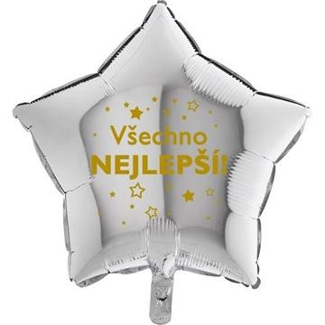 Obrázek Foliový balonek Všechno nejlepsí hvězdy - stříbrný- 45 cm