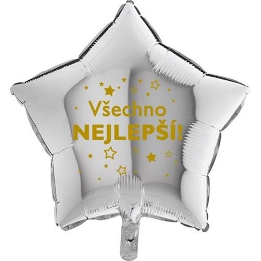 Obrázek z Foliový balonek Všechno nejlepsí hvězdy - stříbrný- 45 cm