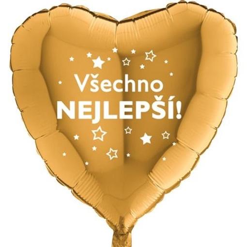 Obrázek z Foliový balonek Všechno nejlepsí hvězdy - Zlaté srdce 45 cm
