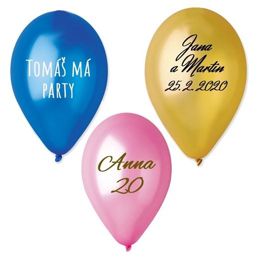 Obrázek z Latexové metalické balonky 28 cm s vlastním potiskem