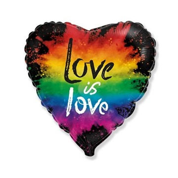 Obrázek Foliový balonek srdce - Láska je láska - pestrobarevný 45 cm