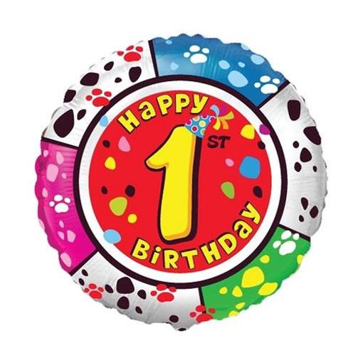 Obrázek z Foliový balonek Happy Birthday číslo 1 - 45cm