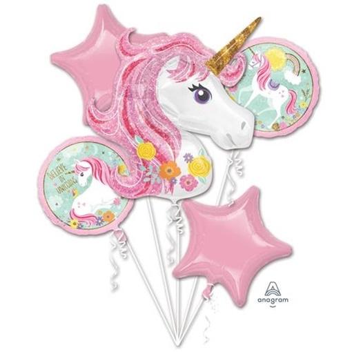 Obrázek z Sada foliových balonků jednorožec magic - 5 ks