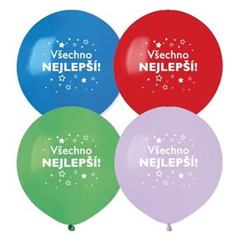 Obrázek Latexový balonek hvězdy - Všechno nejlepší 48 cm