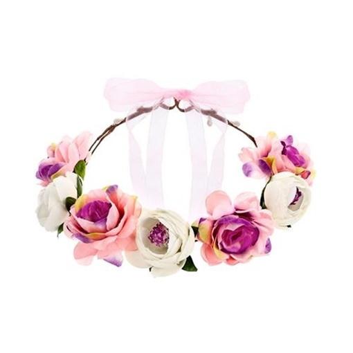 Obrázek z Čelenka s bílými a růžovými květy - korunka
