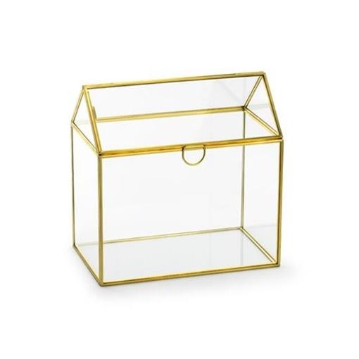 Obrázek z Skleněná zlatá truhlice na přání a dary