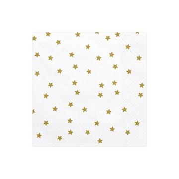 Obrázek Papírové ubrousky zlaté hvězdy 20ks