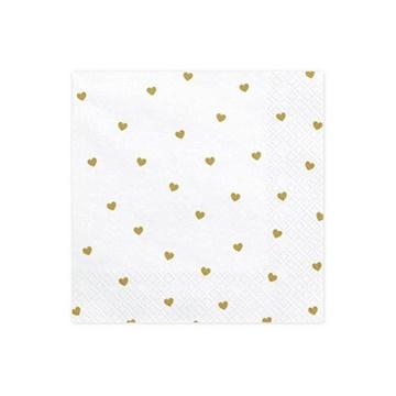Obrázek Papírové ubrousky zlatá srdíčka 20ks
