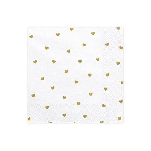 Obrázek z Papírové ubrousky zlatá srdíčka 20ks