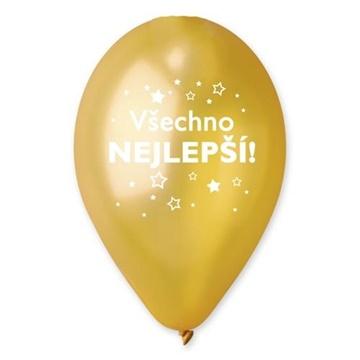 Obrázek Balonek hvězdy - Všechno nejlepší zlatý metalický 30 cm