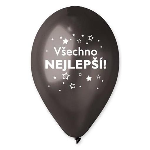Obrázek z Balonek hvězdy - Všechno nejlepší černý metalický 30 cm
