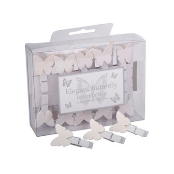 Obrázek Svatební kolíčky bílé s motýlkem - 20 ks