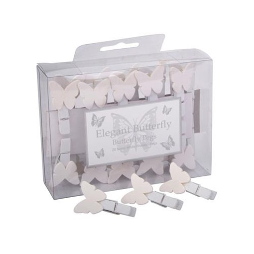 Obrázek z Svatební kolíčky bílé s motýlkem - 20 ks