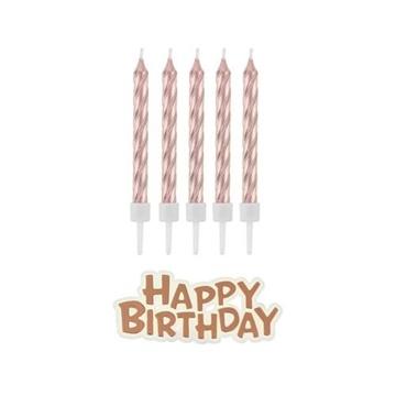 Obrázek Dortové svíčky rose gold s držátky a nápis happy birthday 16 ks