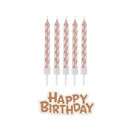 Obrázek z Dortové svíčky rose gold s držátky a nápis happy birthday 16 ks