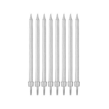 Obrázek Dortové svíčky stříbrné s držátky 10 cm - 8 ks