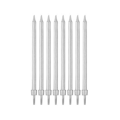 Obrázek z Dortové svíčky stříbrné s držátky 10 cm - 8 ks