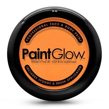Obrázek Barva na obličej oranžová v pudřence se zrcátkem, houbičkou a štětcem