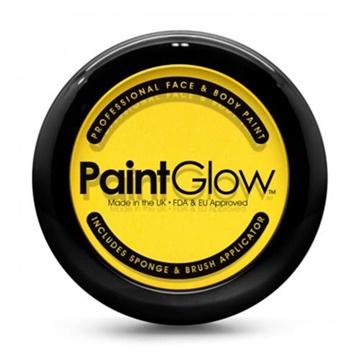 Obrázek Barva na obličej žlutá v pudřence se zrcátkem, houbičkou a štětcem