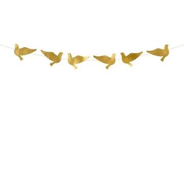 Obrázek Girlanda holubice zlatá 86 cm