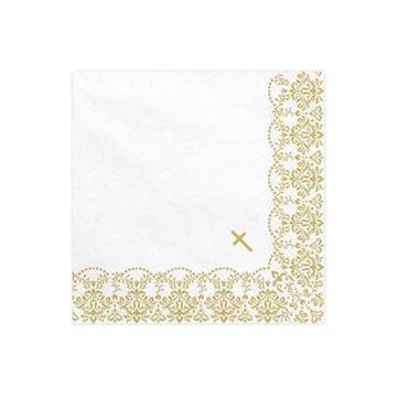 Obrázek Papírové ubrousky Křtiny - zlaté ornamenty 20 ks