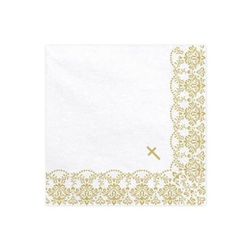 Obrázek z Papírové ubrousky Křtiny - zlaté ornamenty 20 ks