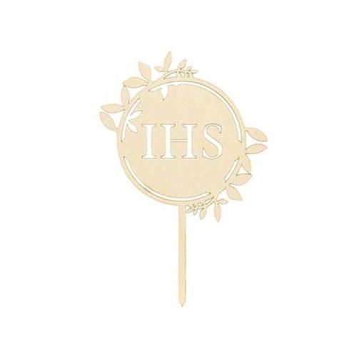Obrázek z Dřevěný nápis IHS na dort 23 cm