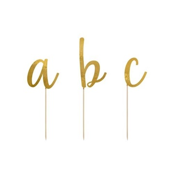 Obrázek Ozdoba na dort - abeceda zlatá 53 ks