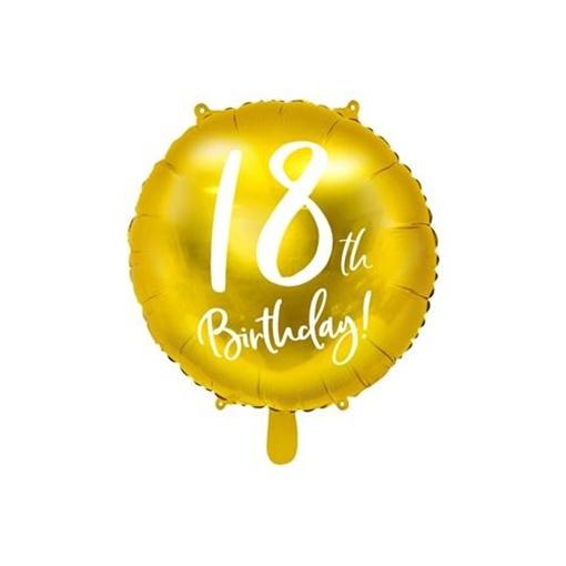 Obrázek z Foliový balonek zlatý - 18th Birthday - 45 cm