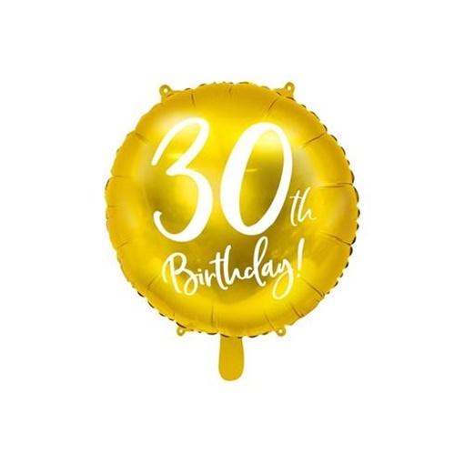 Obrázek z Foliový balonek zlatý - 30th Birthday - 45 cm