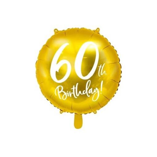 Obrázek z Foliový balonek zlatý - 60th Birthday - 45 cm