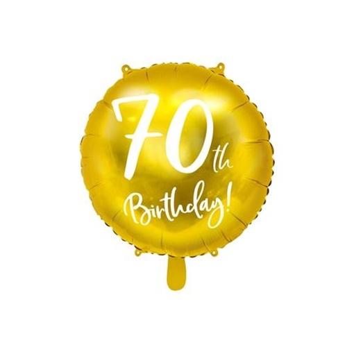 Obrázek z Foliový balonek zlatý - 70th Birthday - 45 cm