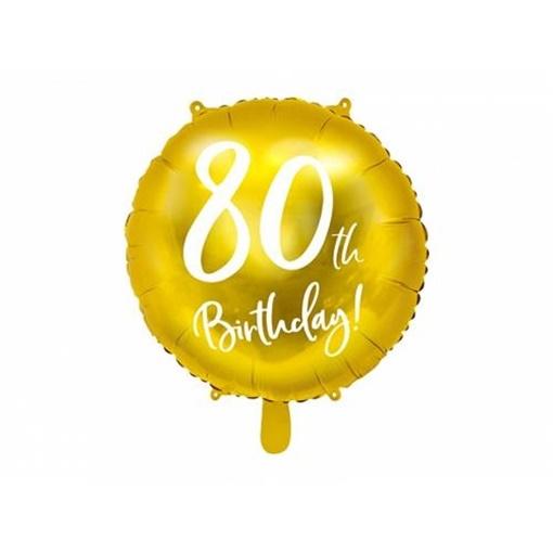 Obrázek z Foliový balonek zlatý - 80th Birthday - 45 cm