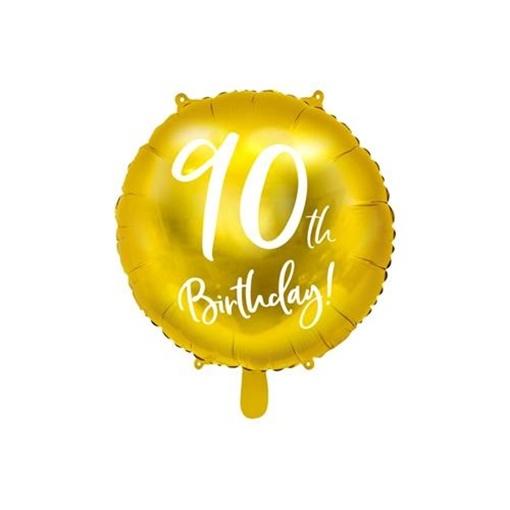 Obrázek z Foliový balonek zlatý - 90th Birthday - 45 cm