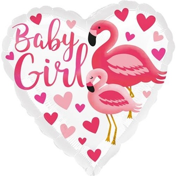 Obrázek Foliový balonek srdce Plameňák - baby girl 45 cm
