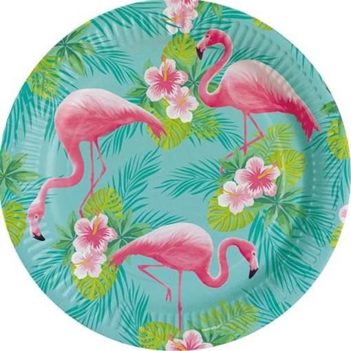 Obrázek z Papírové talíře Plameňák 23 cm
