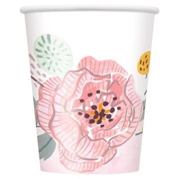 Obrázek Papírové kelímky Boho - květinové 8 ks